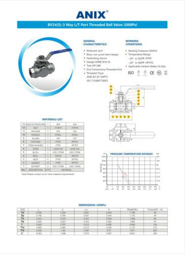 "1-1//4/"" 3-Way Ball Valve L Port T Port Stainless Steel 316 NPT 1000 WOG Mount Pad"