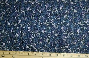 FQ-Dainty-Lavender-Color-Florals-on-Navy-Cotton-Fabric-FQ-FREE-SHIP