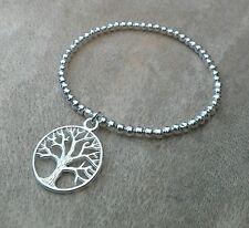 Bola de plata Pila de árbol de la vida con cuentas pulsera elástica