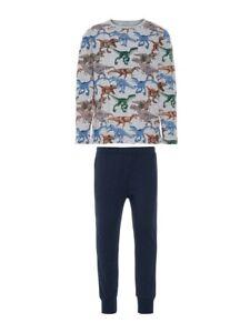NAME-IT-Jungen-Pyjama-Schlafanzug-grau-blau-Dinosaurier-Groesse-86-bis-164