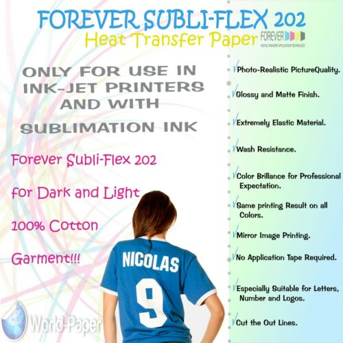 "Sublimation Paper for Cotton Forever Subli-Flex 202 Dark T Shirts 8.5/"" X 11/"""