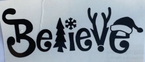 *Color /& Size Choice* Christmas Believe Tray Vinyl Decal Sticker Car Window Wine