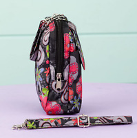 Cell Phone Organizer Clutch Wristlet Crossbody Strap Credit Card Slots Floral