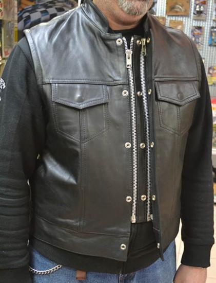 Weste Leder Männer Sons Doppelt Reißverschluss Buttons Buttons Buttons Biker SoA Anarchy | Authentische Garantie  b750cb