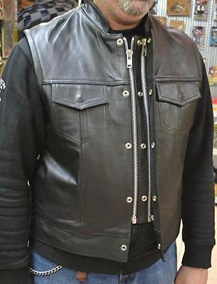 biker SOA Gilet veste jacket en Cuir style Pare Balle Swatt Tête de Mort SKULL