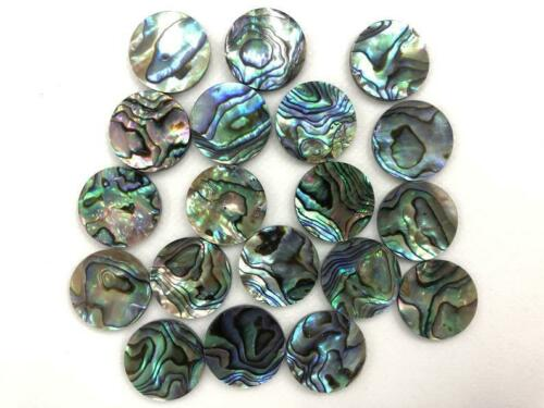 11X11 MM ROUND TOP NATURAL ABALONE SHELL CABOCHON FLAT-BACK GEMSTONES SKF-111