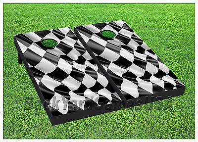 VINYL WRAPS Cornhole Boards DECALS Nascar Racing Flag Bag Toss Game Stickers 370