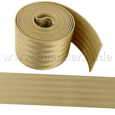 48mm breit bis 2t belastbar 5m Sicherheitsgurtband beige aus Polyamid