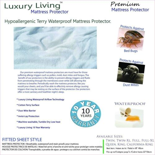 Full Size Luxury Living Terry Waterproof Hypoallergenic Mattress Protector