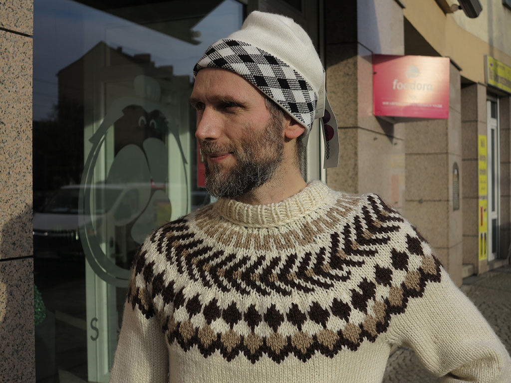 Ergee Strickmütze ski Mütze Schwarz Weiß 90er True Vintage 90s knitted hat NOS