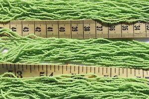 15-0-Czech-True-Cut-Op-Lt-Green-Glass-Seed-Beads-Crafts-Jewelry-Making-hank