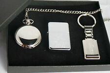 The Goonies Gift Set Silver Plated Pocket Watch Keyring Petrol Lighter Custom