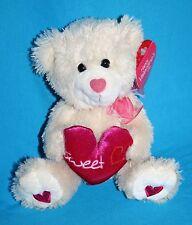 "Valentine SWEET HEART TEDDY BEAR 6"" Walmart Soft Toy Beige New Plush Stuffed"