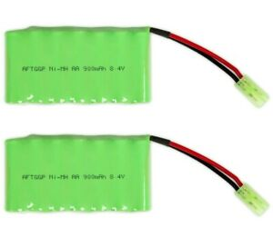 8-4V-900mAh-RC-Airsoft-NiMH-Rechargeable-Battery-Pack-with-Mini-Tamiya-2-PACK
