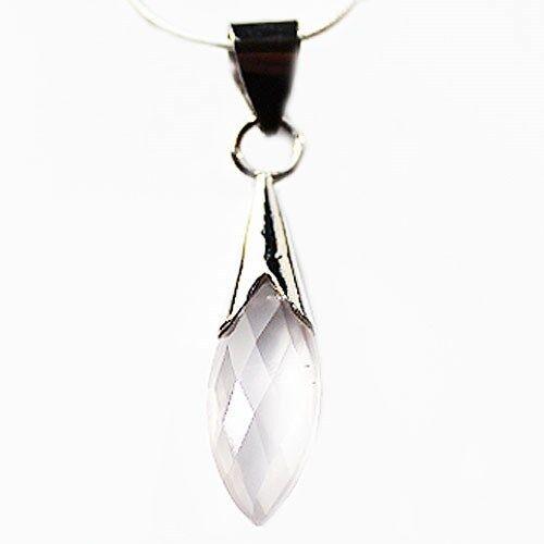 925 Sterling Silver Semi-Precious Stone Pendant - Rose Quartz.