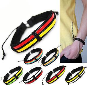 plage-Serie-5-coton-XL-Bracelet-De-Surfeur-jusqu-039-a-avant-bras-en-cuir