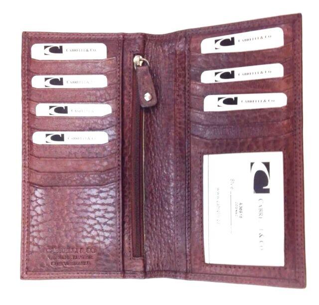 Men Italian Leather Long Breast Wallet Bifold  Cabrelli & Co Cognac Brown