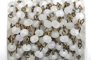 13ft FROSTED WHITE Crystal Rondelle Rosary Chain, bronze, 6mm beads fch0432b