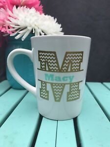 personalized chevron monogram coffee mug great birthday gift free
