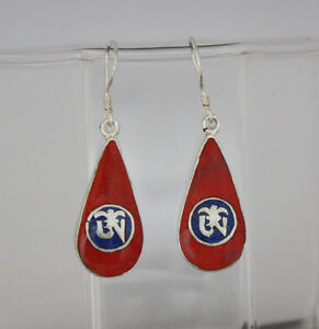 Asian-Ethnic-Sterling-silver-Earring-Coral-stone-jewelry-Nepalese-handmade-GLE39