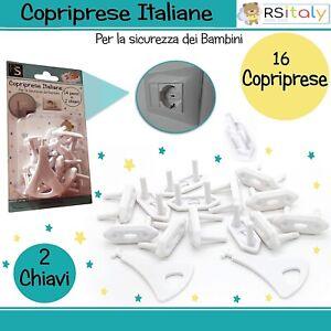 RS-Italy Copriprese Bambini | 16 Pezzi + 2 Chiavi | Copri Prese Elettriche