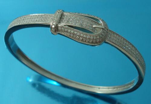 Plata esterlina 925 Brazalete Pulsera CZ Hebilla de cinturón Oval 58 x50 mm Reino Unido caracteriza