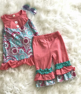 70bbc0bdaab8d Details about Paisley Floral Tunic Tank Dress Ruffle Pants Outfit Toddler  Girl Boutique Outfit