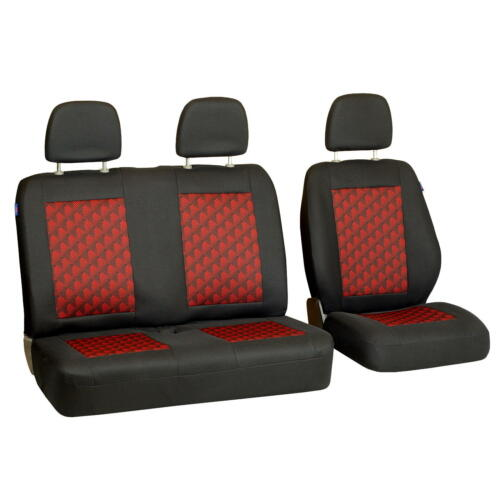 Black-Red Seat Covers for Mercedes Benz Sprinter Car Seat Cover Set 1+2