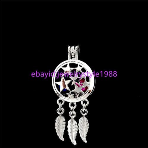 5X-K730 Star Pentagram Dream Catcher Charms Perle Cage Pendentif