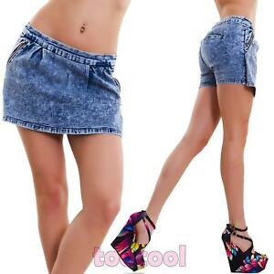 Pantaloncini donna jeans skinny shorts minigonna hot pant aderenti nuovi BH6599