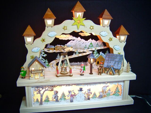 Unterbank Podest 44x40 cm 10012 3D LED Lichterbogen Schwibbogen mit Kirche