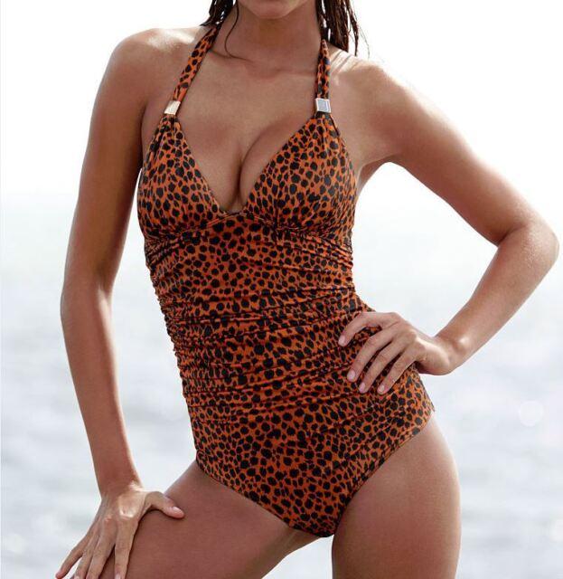 5d72088b4b64 Victoria s Secret Women s Swim Suit Small One Piece Animal Leopard print  Halter