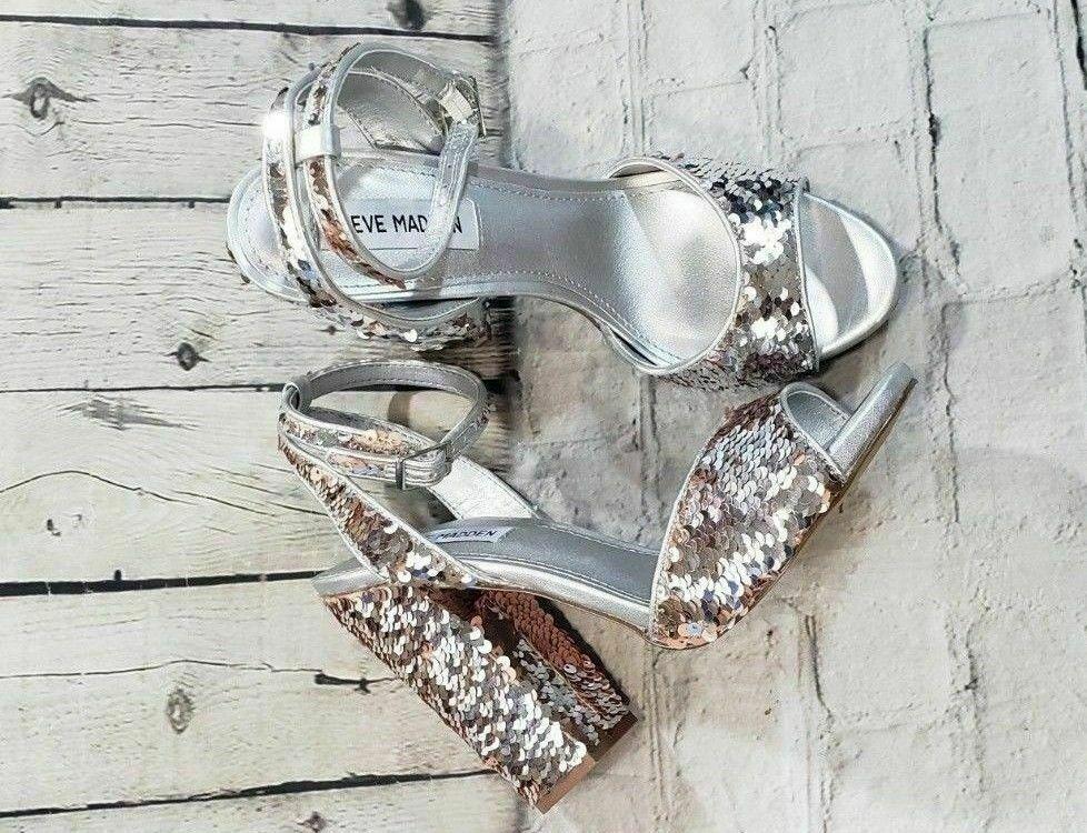 Steve Madden Ritzy Flip Sequin Dress Sandal Sliver Brown Block Heels Wn's Sz 7