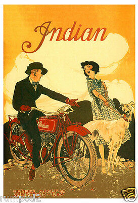 Motorcycle// Indian Motorcycle-Poster//Print-Vintage Style Poster//17x22 in