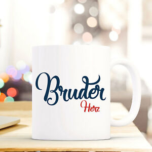 """Baby Tasse Becher Spruch """"bruder Herz"""" Geschenk Kaffeebecher Motto In Blau/rot Ts556 Waren Jeder Beschreibung Sind VerfüGbar"""