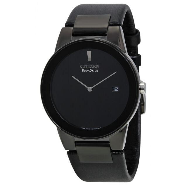 Citizen Eco Drive Axiom Black Dial Black Leather Mens Watch AU1065-07E-AU