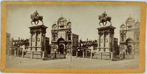 Stéréo, Italie, Venise,  monumento Colleoni Vintage stereo card,  Tirage album