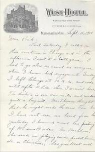 1914 LETTER FROM WEST HOTEL, MINNEAPOLIS, MINNESOTA 3 PAGES