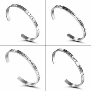 Fashion-Stainless-Steel-Silver-Letter-Cuff-Bangle-Bracelet-Gift-Women-Jewelry