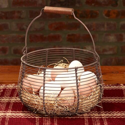 Primitive Reproduction ` Old Metal `Egg Basket *The Country House Collection *