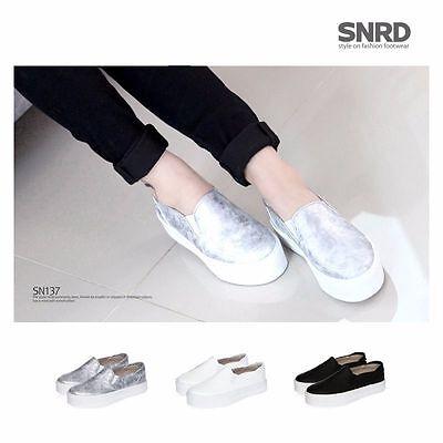New SNRD SN137 Vintage Women Slip on Sneakers Tall Up Platform Loafers Flat Shoe