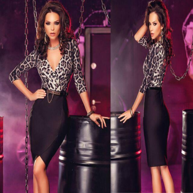 Sz 8 10 Leopard Black 3/4 Sleeve Formal Cocktail Party Wrap Slim Fit Midi Dress