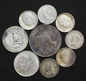 Silver Coins Collection Lot Of 9 Us Belgium Canada World Auction Start From 1 Ebay