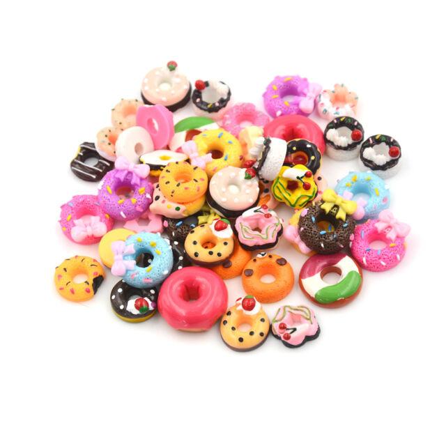 10x DIY Phone Case Decor Crafts Miniature Resin Doughnut Dollhouse Food Supply9C