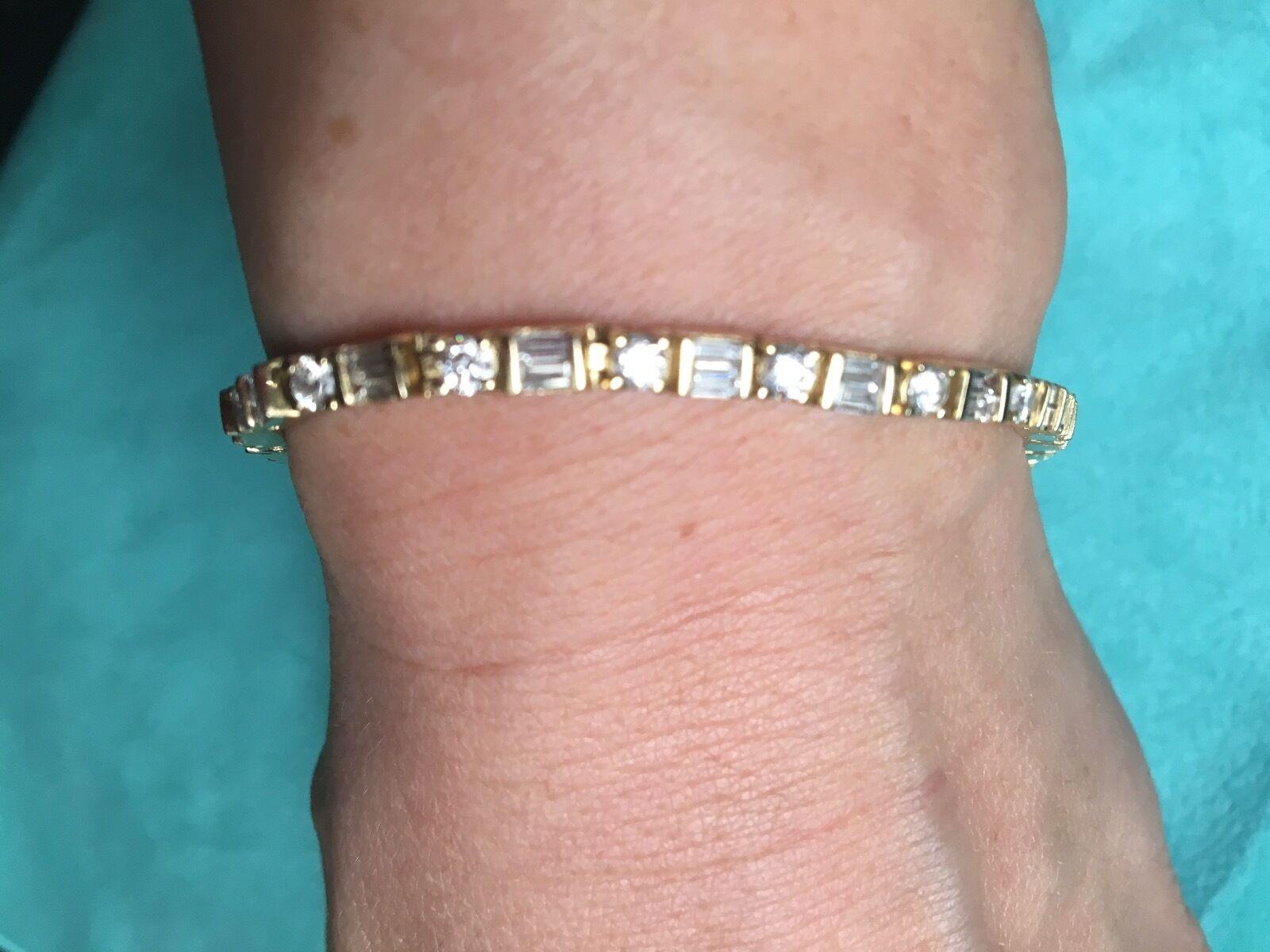 Diamond Tennis Bracelet, 5.20 carats,  5,500.00,14kt yellow gold, Appraisal