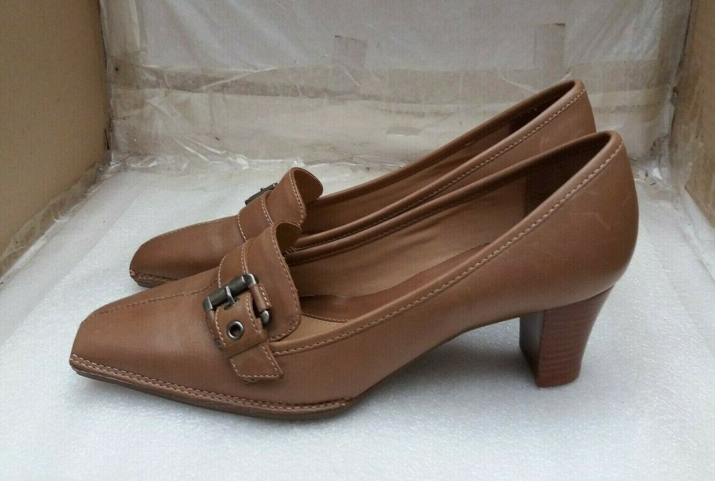 Clarks Ladies Comfortable Tan Leather Mid Block Heel Front Buckle shoes - UK 4