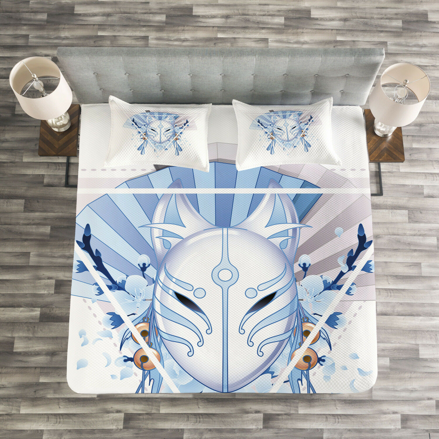 Kabuki Mask Quilted Bedspread & Pillow Shams Set, Fox Mask Kitsune Print