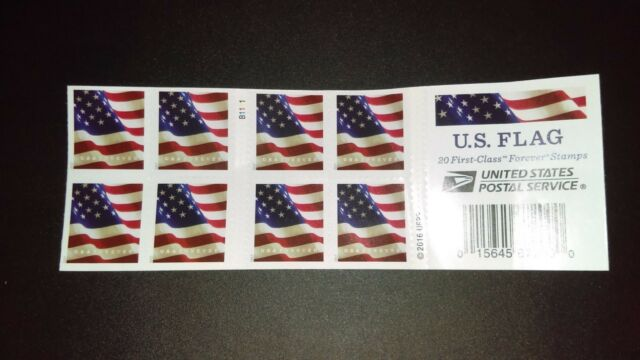 BOOK OF 20 USPS FIRST CLASS FOREVER POSTAGE STAMPS US FLAG