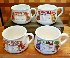 Vintage-In-Original-Box-Recipe-Soup-Bowls-Mugs-Cups-Lot-of-Four-4
