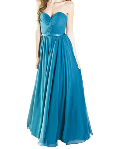 New Long Chiffon Strapless Party Formal Gowns Evening Prom Dresses US Size 2-22